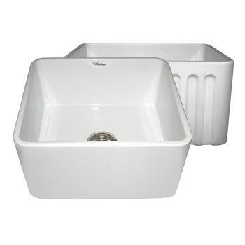 "Whitehaus Reversible Series Fireclay Sink with Smooth Front Apron, White, 20""W x 18""D x 10""H"