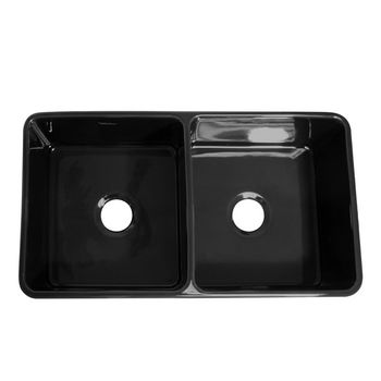 "Whitehaus Reversible Series Double Bowl Fireclay Sink with Smooth Front Apron, Black, 33""W x 18""D x 10""H"