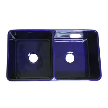 "Whitehaus Reversible Series Double Bowl Fireclay Sink with Smooth Front Apron, Sapphire Blue, 33""W x 18""D x 10""H"