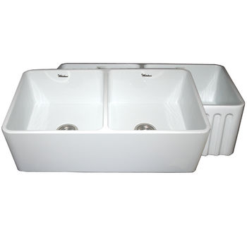"Whitehaus Reversible Series Double Bowl Fireclay Sink with Smooth Front Apron, White, 33""W x 18""D x 10""H"