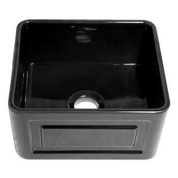 "Whitehaus Reversible Series Fireclay Sink with Raised Panel Front Apron, Black, 20""W x 18""D x 10""H"