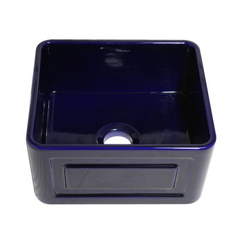 "Whitehaus Reversible Series Fireclay Sink with Raised Panel Front Apron, Sapphire Blue, 20""W x 18""D x 10""H"