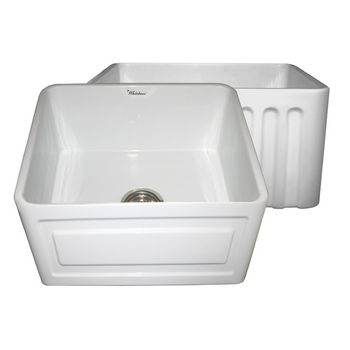 "Whitehaus Reversible Series Fireclay Sink with Raised Panel Front Apron, White, 20""W x 18""D x 10""H"