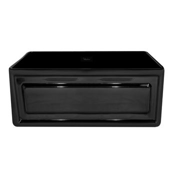 "Whitehaus Reversible Series Fireclay Sink with Raised Panel Front Apron, Black, 24""W x 18""D x 10""H"