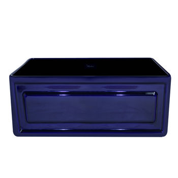 "Whitehaus Reversible Series Fireclay Sink with Raised Panel Front Apron, Sapphire Blue, 24""W x 18""D x 10""H"