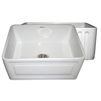 "Whitehaus Reversible Series Fireclay Sink with Raised Panel Front Apron, White, 24""W x 18""D x 10""H"