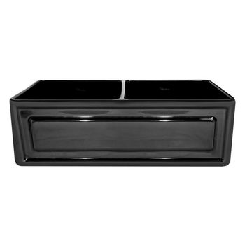 "Whitehaus Reversible Series Double Bowl Fireclay Sink with Raised Panel Front Apron, Black, 33""W x 18""D x 10""H"
