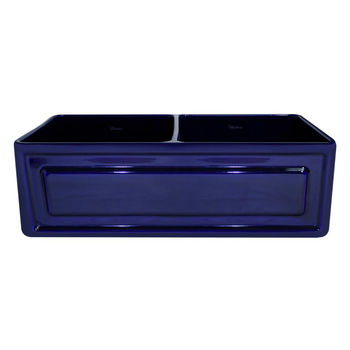 "Whitehaus Reversible Series Double Bowl Fireclay Sink with Raised Panel Front Apron, Sapphire Blue, 33""W x 18""D x 10""H"
