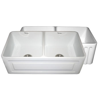 "Whitehaus Reversible Series Double Bowl Fireclay Sink with Raised Panel Front Apron, White, 33""W x 18""D x 10""H"