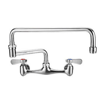 """Whitehaus Wall Mount Laundry Faucet with Double Jointed Retractable Swing Spout, Polished Chrome, 18"""" Spout Height"""