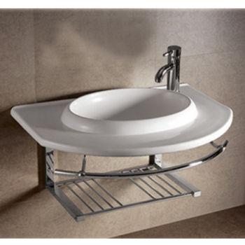 Isabella Round Bowl Bath Sink with Wall-Mount Basin, Chrome Shelf & Towel Bar