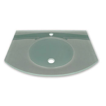 """Whitehaus 28"""" Wall Mounted Arched Countertop and Integrated Round Basin in Matte Glass"""