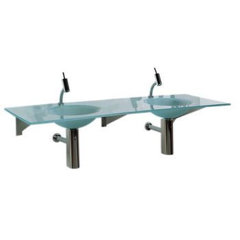 """Whitehaus 59"""" Wall Mounted Rectangular Countertop with Double Integrated Round Basins in Matte Glass"""