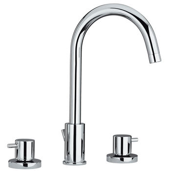 Whitehaus Luxe Widespread Bathroom Faucet with Cross Handles and Tubular Swivel Spout in Polished Chrome