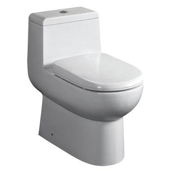 "Whitehaus Magic Flush Eco-Friendly One Piece Toilet, Siphonic Action Dual Flush System, Elongated Bowl, 1.6/1.1 GPF Capacity, 15-1/4""W x 26-1/4""D x 26-5/8""H"