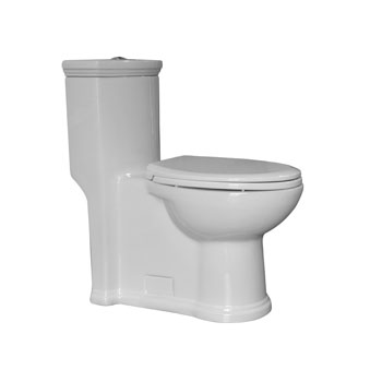 "Whitehaus Magic Flush Eco-Friendly One Piece Toilet, Siphonic Action Dual Flush System, Elongated Bowl, 1.3/0.9 GPF Capacity, 15""W x 28-1/2""D x 31""H"
