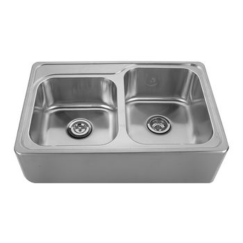 """Noah Collection - Double Bowl Drop-In Sink, 1 Small Bowl & 1 Large Bowl, 33"""" W x 22"""" D x 9-1/4"""" H, No Hole"""