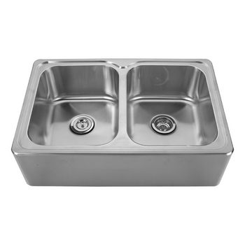 """Noah Collection - Double Bowl Drop-In Sink, 33"""" W x 22"""" D x 9-1/4"""" H, No Hole"""