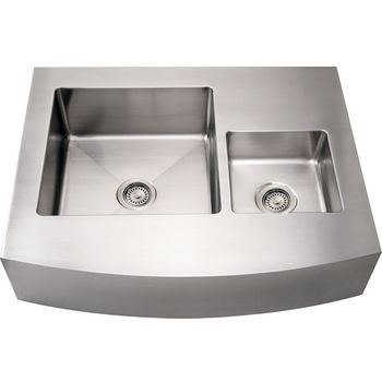 Noah Collection - Commercial Double Bowl Front-Apron Sink, Brushed Stainless Steel