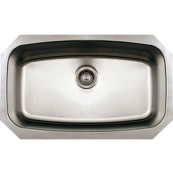 Whitehaus Noah's Collection Undermount Kitchen Sink, Single Bowl, Brushed Stainless Steel