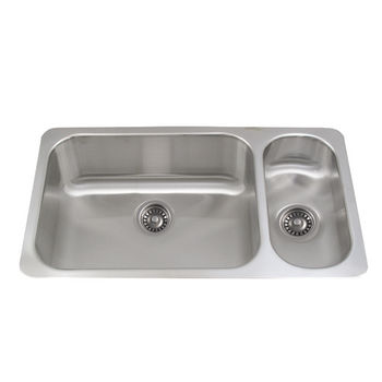 Whitehaus Noah's Collection Undermount Kitchen Sink, Double Bowl Disposal Sink, Brushed Stainless Steel
