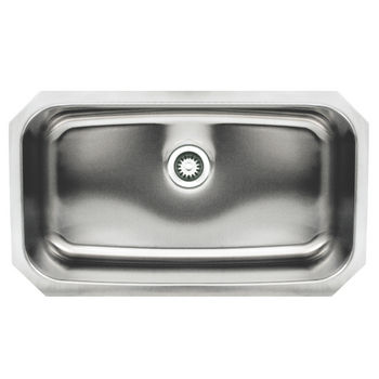 Whitehaus Noah's Collection Undermount Kitchen Sink, Rectangular Single Bowl, Brushed Stainless Steel
