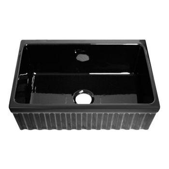 "Whitehaus - Farmhaus Quatro Alove Reversible Fireclay Sink, 30"" W x 20"" D x 10"" H, Black"