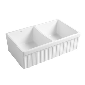 Fluted Sink in Matte White Display View 2