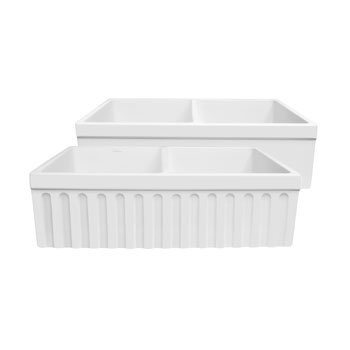 Whitehaus - Farmhaus Quatro Alove Reversible Double Bowl Fireclay Sink, White