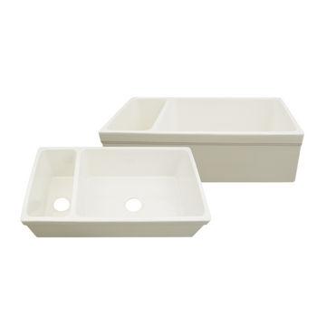 Whitehaus Quatro Alcove Reversible Double Bowl Sink, Biscuit