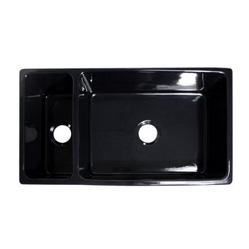 Whitehaus Quatro Alcove Reversible Double Bowl Sink, Black