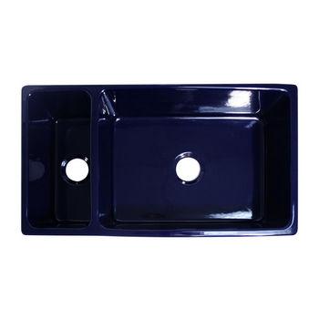 Whitehaus Quatro Alcove Reversible Double Bowl Sink, Sapphire Blue