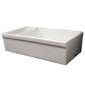 Whitehaus Quatro Alcove Reversible Double Bowl Sink, White