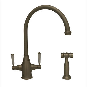 "Whitehaus Queenhaus Collection Dual Handle Faucet with Long Gooseneck Spout, Porcelain Lever Handles and Solid Brass Side Spray in Brushed Nickel, 9"" W x 6-1/16"" D x 14-1/2"" H"