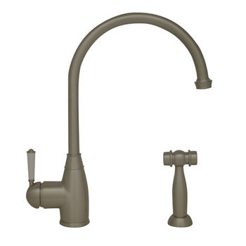 "Whitehaus Queenhaus Collection Single Lever Faucet with Long Gooseneck Spout, Porcelain Single Lever Handle and Solid Brass Side Spray in Brushed Nickel, 9"" W x 2-1/4"" D x 10"" H"