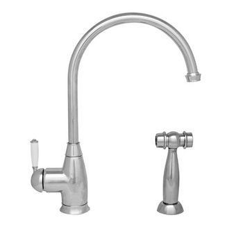 "Whitehaus Queenhaus Collection Single Lever Faucet with Long Gooseneck Spout, Porcelain Single Lever Handle and Solid Brass Side Spray in Polished Chrome, 9"" W x 2-1/4"" D x 10"" H"