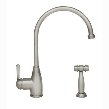 "Whitehaus Queenhaus Collection Single Lever Faucet with Long Gooseneck Spout, Porcelain Single Lever Handle and Solid Brass Side Spray in Polished Nickel, 9"" W x 2-1/4"" D x 10"" H"