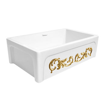 Embossed Vine Sink in White/ Gold Display View 4