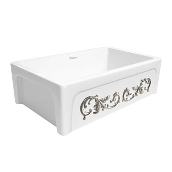 Embossed Vine Sink in White/ Platinum Display View 4