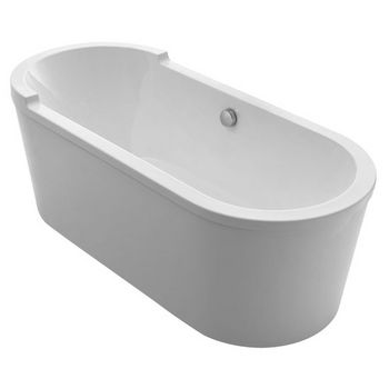 "Whitehaus Bathhaus Collection Oval Double Ended Single Sided Armrest Freestanding Bathtub with Chrome Mechanical Pop-Up Waste and Chrome Center Drain with Internal Overflow in White, 70-7/8"" W x 31-1/2"" D x 24-1/2"" H"