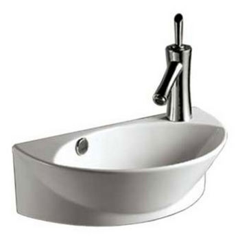 Whitehaus Isabella Half-Oval Wall Mount Basin with Integrated Oval Bowl, Overflow, Right Offset Single Faucet Hole and Center Drain
