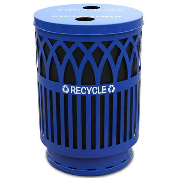 Witt Covington Collection Recycling Receptacle with Recycling Flat Top, Plastic Liner, Blue