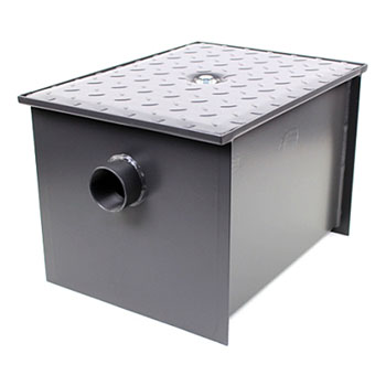 Wells Sinkware Wentworth Floor Mount 11 Gauge Carbon Steel Grease Trap in 50 lbs. / 25 GPM Capacity