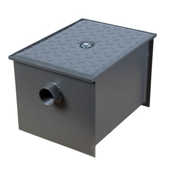 Wells Sinkware Wentworth Floor Mount 11 Gauge Carbon Steel Grease Trap in 14 lbs. / 7 GPM Capacity