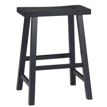 "International Concepts 24"" or 29"" Saddle Seat Bar Stool in Black Finish"