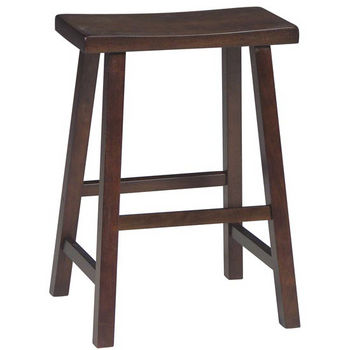 "International Concepts 24"" or 29"" Saddle Seat Bar Stool in Walnut Finish"