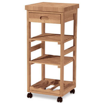 Solid Parawood Kitchen Trolley by International Concepts