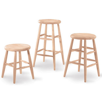 "International Concepts - 18"" - 30"" Scooped Seat Backless Stool, 14"" W x 14"" D x 18"" H"