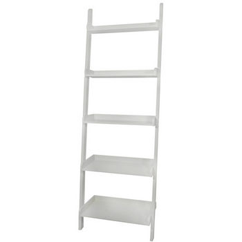 International Concepts 5 Tier Leaning Shelf, White Finish