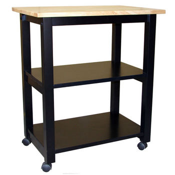 Solid Parawood Microwave Kitchen Cart by International Concepts